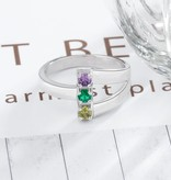 KAYA jewellery Ring with 3 birthstones 'Together Forever'