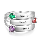 KAYA jewellery Ring with 3 birthstones 'Glamour'