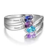 KAYA jewellery Classy birthstone ring 'Four Stones'