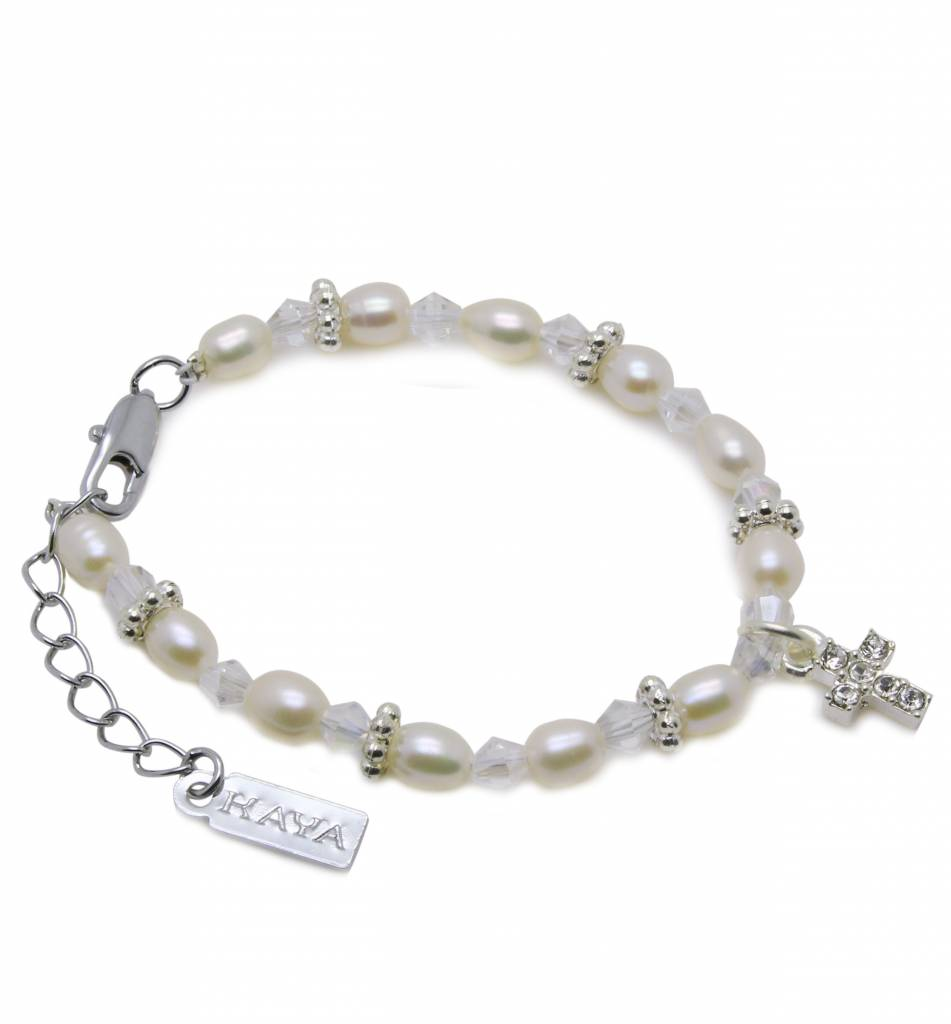 KAYA jewellery Boys & Girls Christening - Communion Bracelet 'Infinity White' with Small Cross Charm