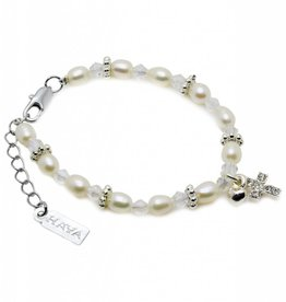 KAYA jewellery Christening Bracelet 'Infinity White' Cross & ♥