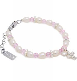 KAYA jewellery Christening - Communion Bracelet 'Infinity Pink' Cross & ♥
