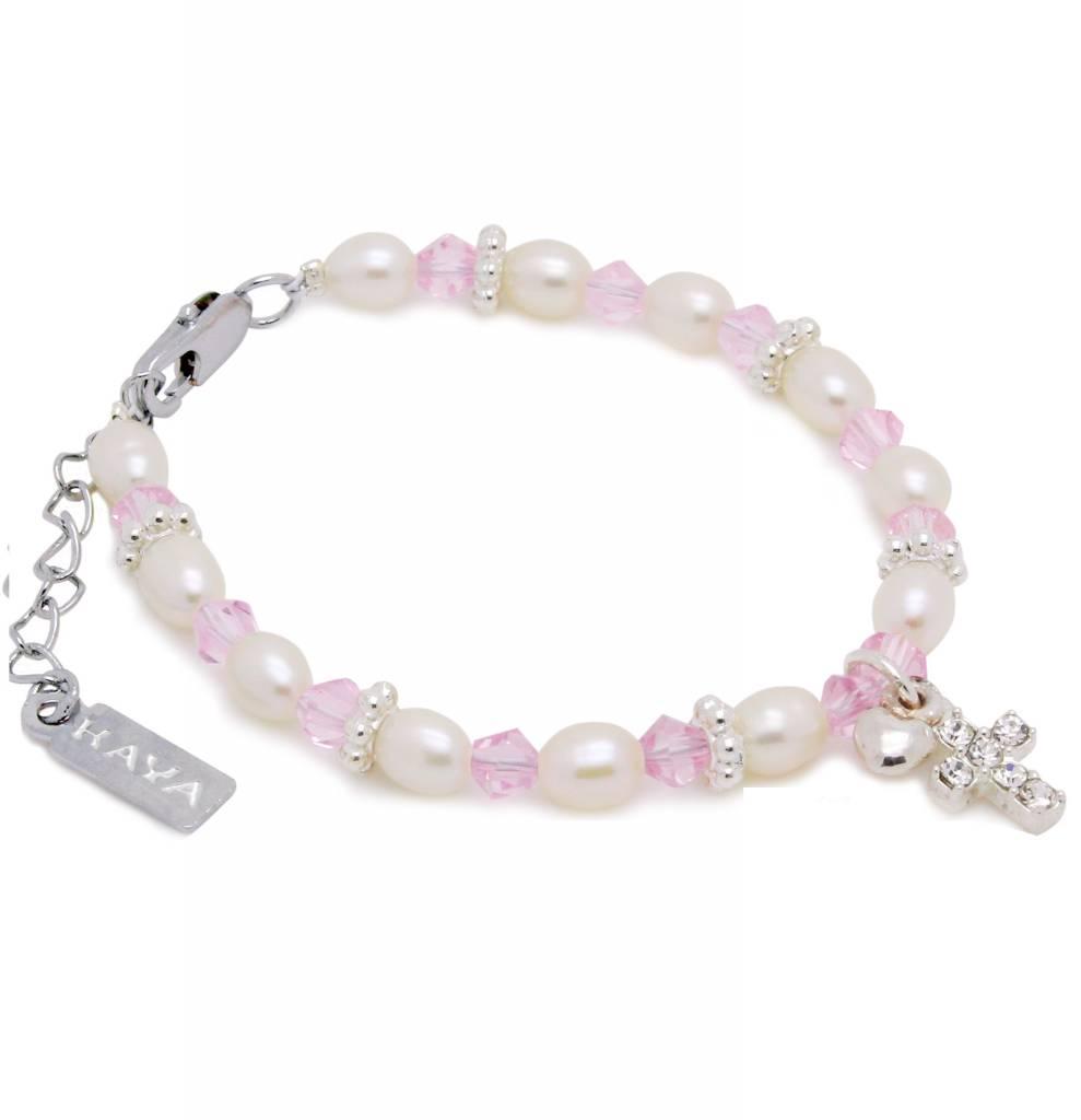 KAYA jewellery Cute Christening - Communion Bracelet 'Infinity Pink' with Cross & Heart