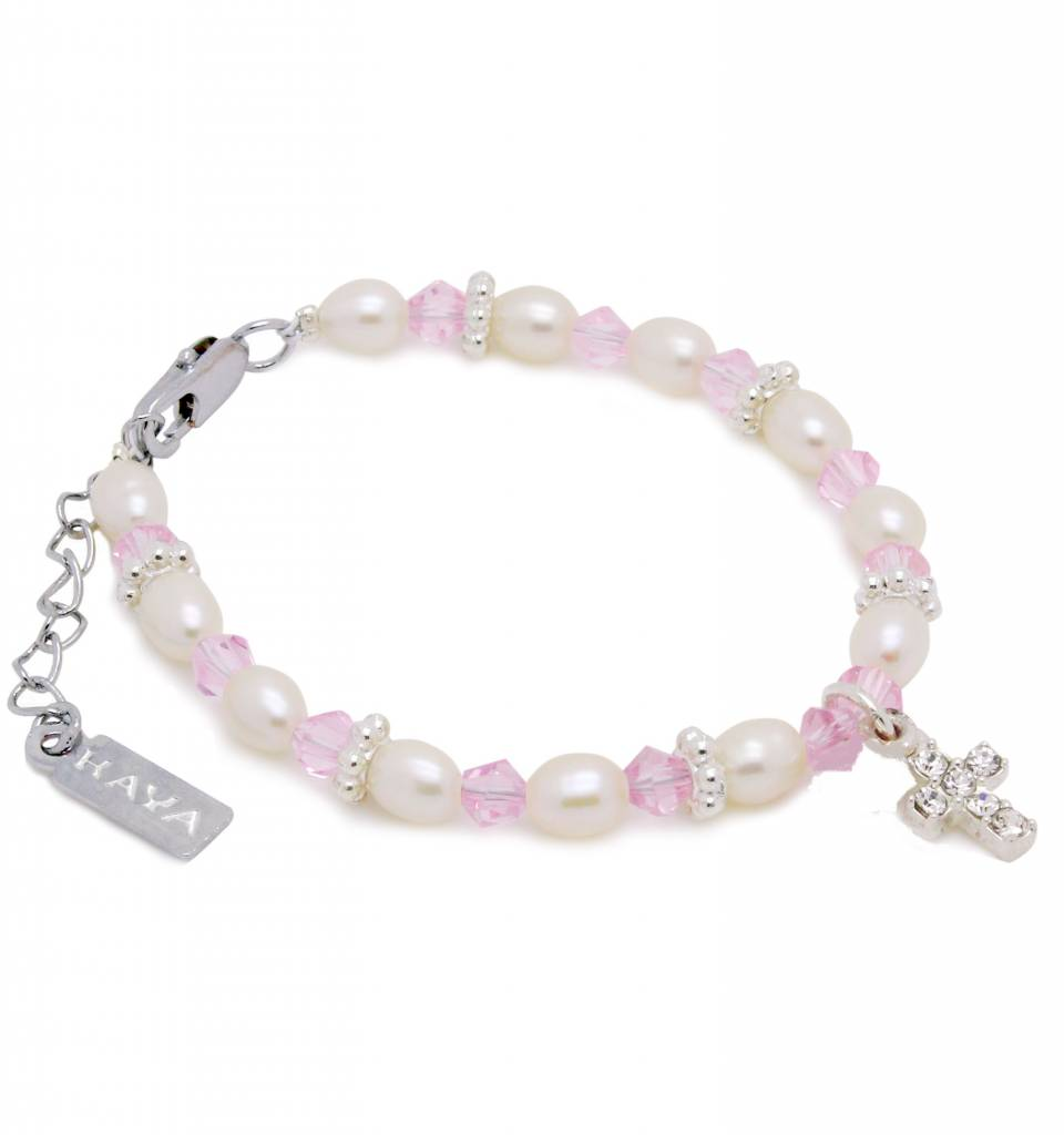KAYA jewellery Adorable Christening - Communion Bracelet 'Infinity Pink' with Small Cross