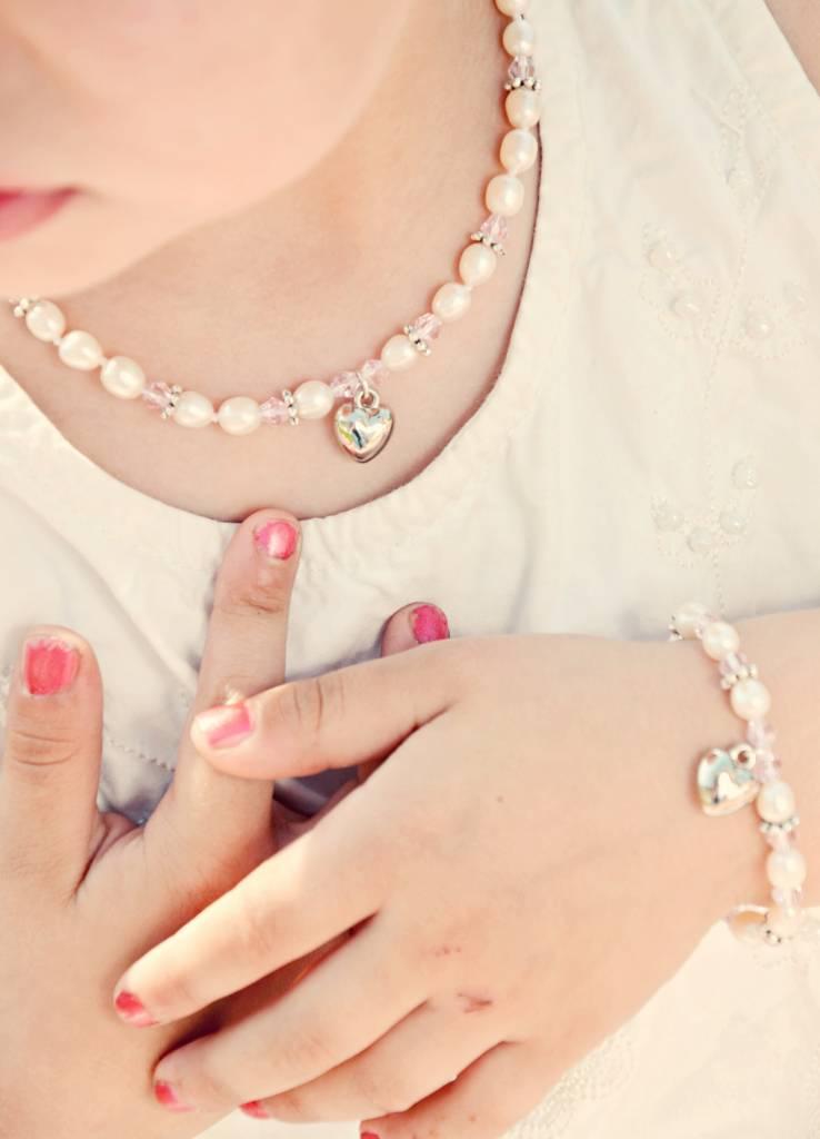 KAYA jewellery Girls Bracelet 'Princess' with a Puffed Heart Charm