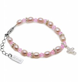 KAYA jewellery Christening - Communion Bracelet 'Princess' with Small Cross