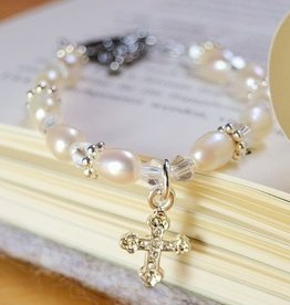 KAYA jewellery Christening - Communion Bracelet 'Infinity White' Cross