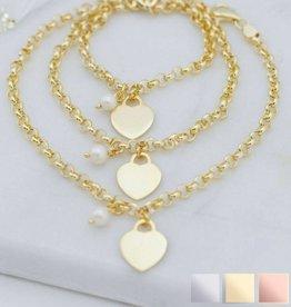 KAYA jewellery Three generation bracelets 'pearl & personalised charm'