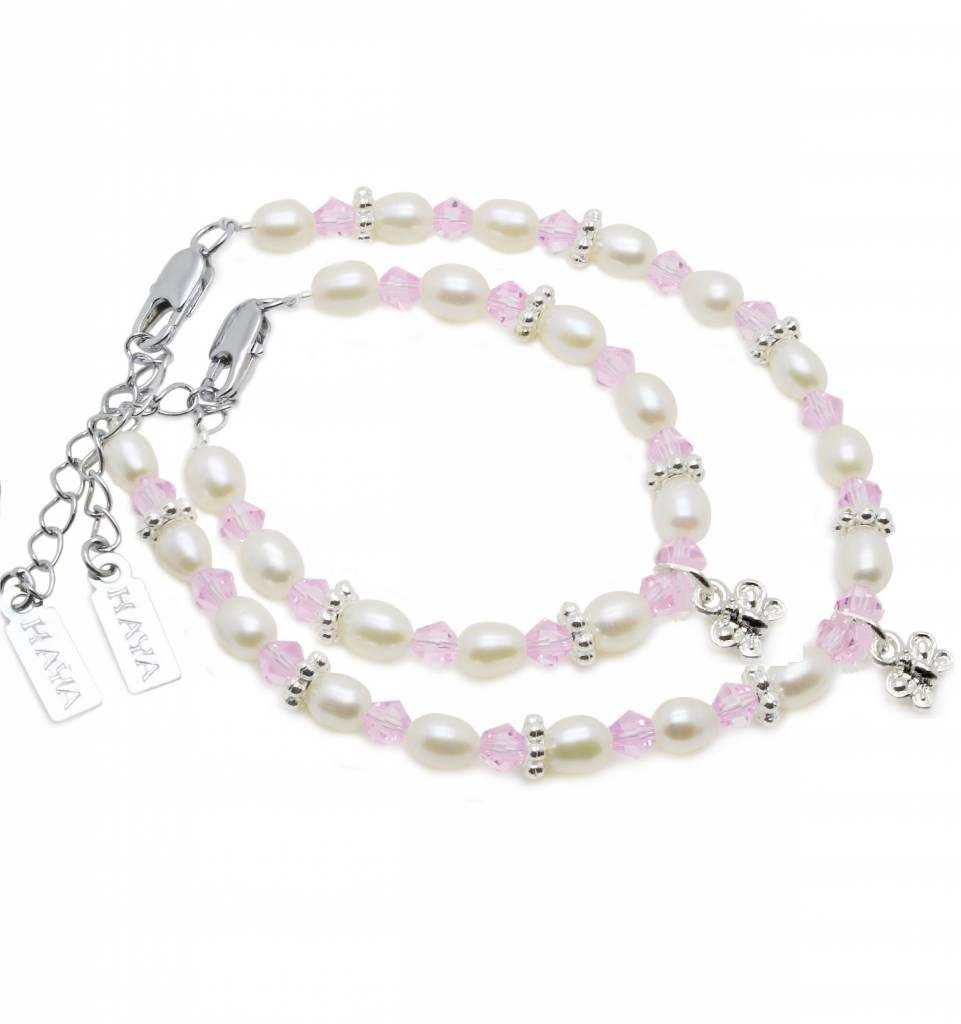 KAYA jewellery Beautiful Mum & Me Bracelet 'Infinity Pink' with Butterfly Charm