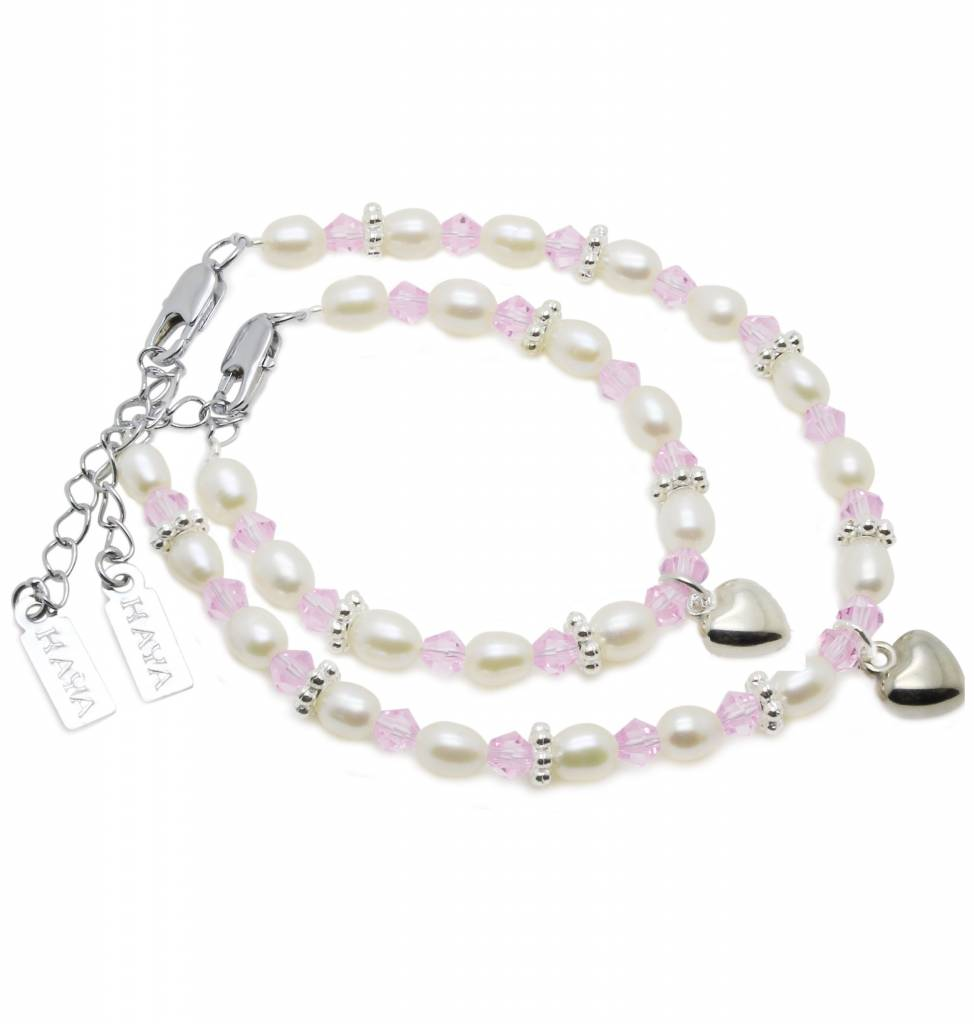 KAYA jewellery Beautiful Mum & Me Bracelet 'Infinity Pink' with Heart Charm