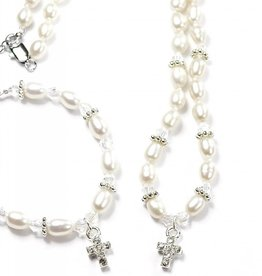 KAYA jewellery Communion Jewellery Set 'Infinity White' with Cross