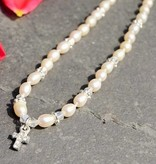 KAYA jewellery Pearl Necklace 'Infinity White' with Cross Charm for Holy Communion