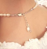 KAYA jewellery Pearl Necklace & Bracelet 'Infinity Pink' with Big Cross Charm for Holy Communion