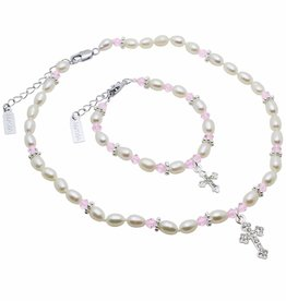 KAYA jewellery Communion Jewellery Set 'Infinity Pink' with Big Cross