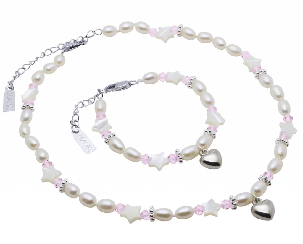 KAYA jewellery Pearl Necklace 'Star Pink' with Heart