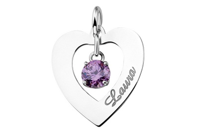 KAYA jewellery Silver Engraved Heart Pendant 'Love you always'