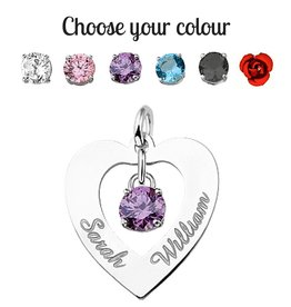 KAYA jewellery Silver Names4ever Engraved Heart Pendant 'Love you both'