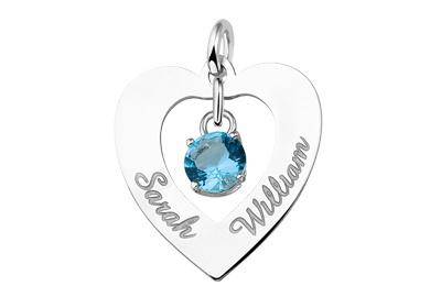 KAYA jewellery Silver Engraved Heart Pendant 'Love you both'