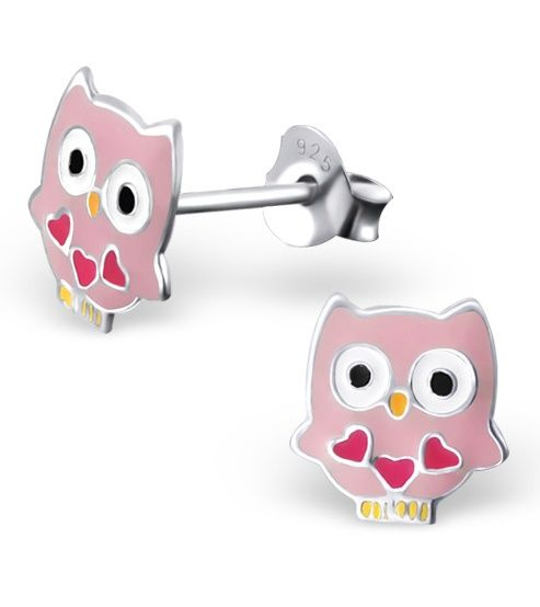 KAYA jewellery Silver Owl Ear Studs