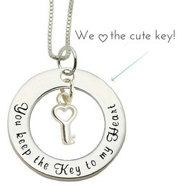 KAYA jewellery Silver Necklace 'You keep the Key to my Heart'