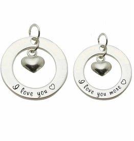 KAYA jewellery 2 Silver Pendants 'I love you ♡ - I love you more ♡'