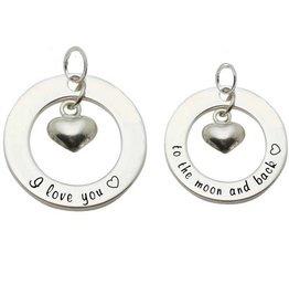 KAYA jewellery 2 Silver Pendants 'I love you ♡ - to the moon & back ♡'