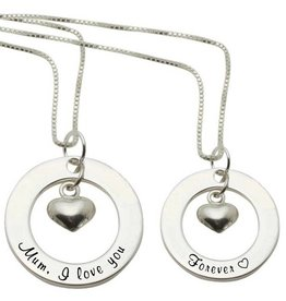 KAYA jewellery 2 Silver Necklaces 'Mum, I love you' - 'Forever ♡'