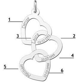 KAYA jewellery Silver Names4ever Engraved Pendant 'Forever Love' Triple