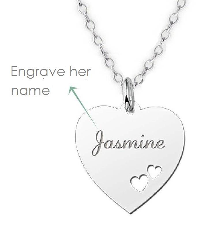 KAYA jewellery Silver Engraved Heart Name Necklace