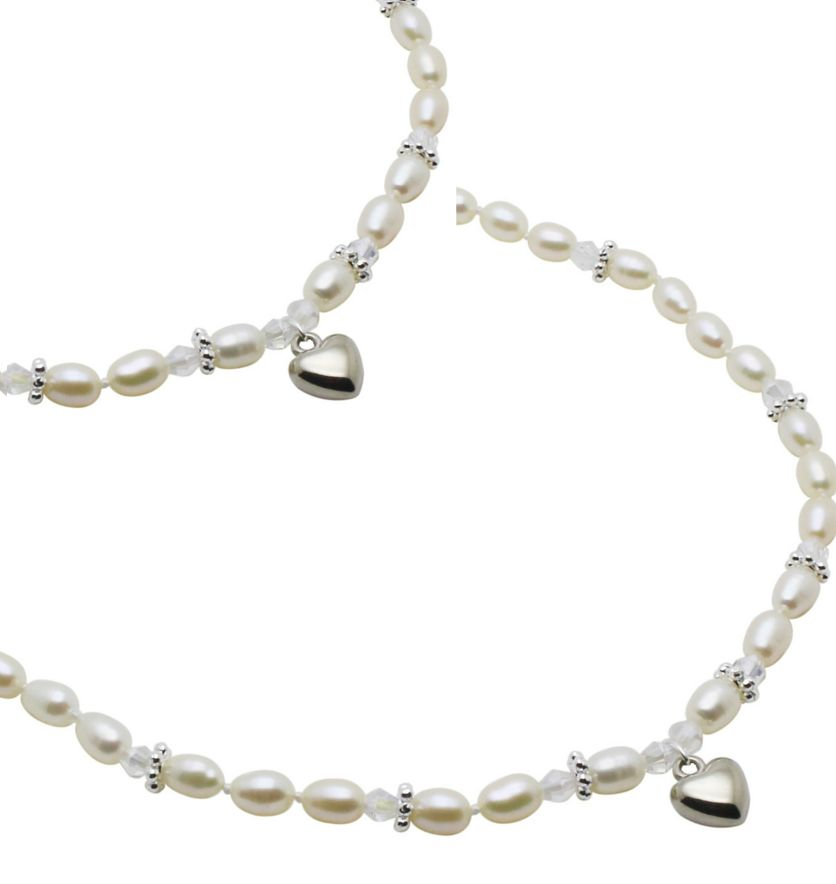 KAYA jewellery Mum & Me Pearl Necklace 'Infinity White' with Heart