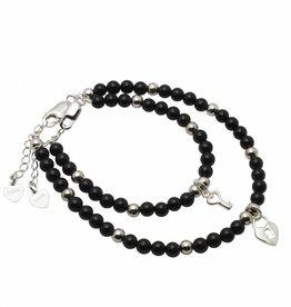 KAYA jewellery Silver Mum & Me Bracelets 'Black Onyx' Key to my Heart