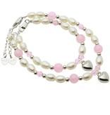 KAYA jewellery Mum & Me Silver Bracelet 'Pink Bubbles' Heart charms
