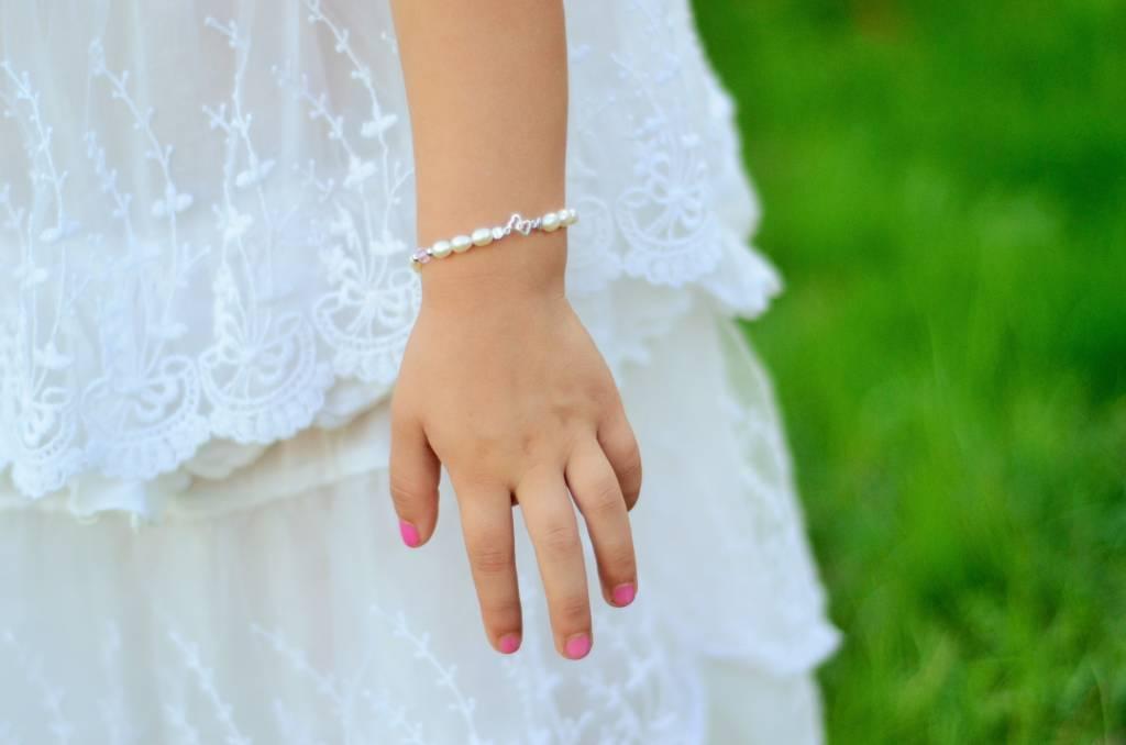 KAYA jewellery Silver Pearl Bracelet 'You & Me forever'