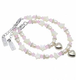 KAYA jewellery Mum & Me Bracelet 'Star Pink' with Heart