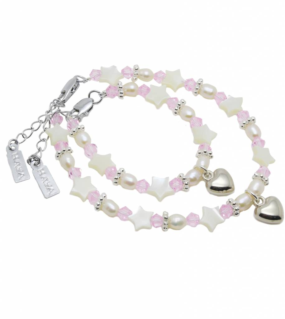 KAYA jewellery Beautiful Mum & Me Bracelet 'Star Pink' with Heart Charm