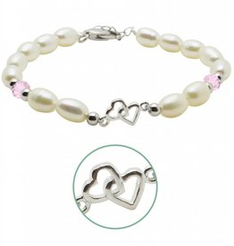 KAYA jewellery Silver Pearl Bracelet 'You & Me forever'