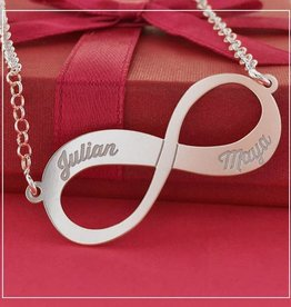 KAYA jewellery Silver Names4ever Engraved Necklace 'Infinity' 2 names