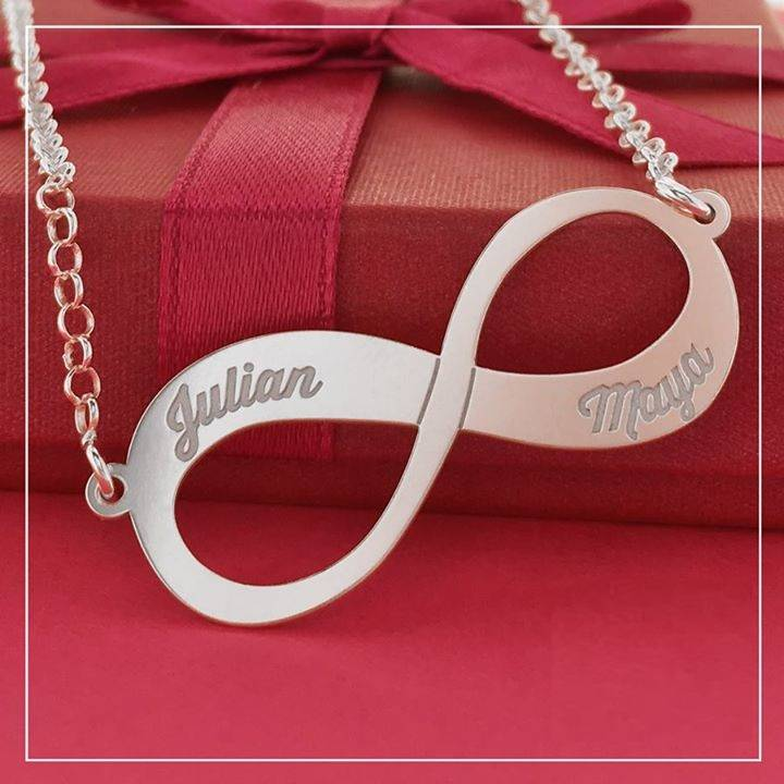 KAYA jewellery Silver Engraved Necklace 'Infinity' 2 names
