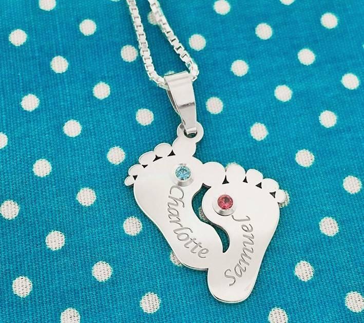 KAYA jewellery Birth stones in silver pendant 'Two names & Birthstones'