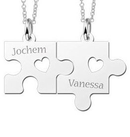 KAYA jewellery Names4ever Silver necklace Puzzle Pieces with Hearts