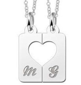 KAYA jewellery Names4ever Silver interlocking pendant 'Heart'