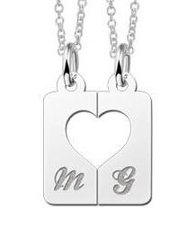 KAYA jewellery Silver interlocking pendant 'Heart'
