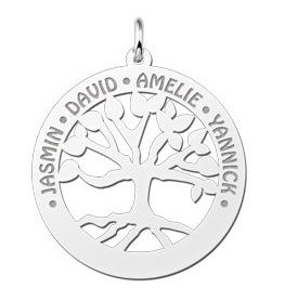 KAYA jewellery Silver Family Tree Pendant  with Engravement