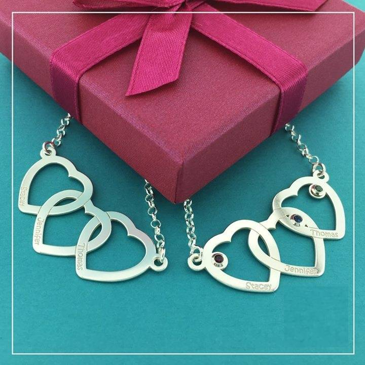 KAYA jewellery Personlised Silver necklace hearts 'Three Names'