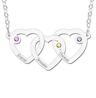 KAYA jewellery Silver necklace hearts 'Three Names & Birthstones'