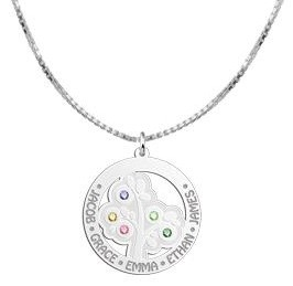 KAYA jewellery Silver Pendant 'Tree of Life' with 5 Birth Stones