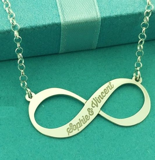 KAYA jewellery Silver Engraved Necklace 'Infinity' 1 or 2 names