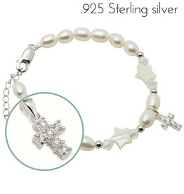 KAYA jewellery Silver Girls Bracelet 'Midnight Star' Crystal Cross
