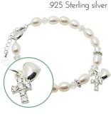 KAYA jewellery Silver Bracelet 'Sparkles' Crystal Cross & Heart
