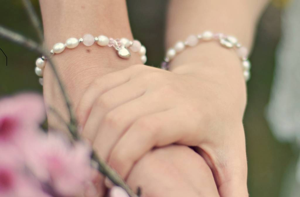 KAYA jewellery Silver Mum & Me Bracelets 'Bubbles' Crystal Cross